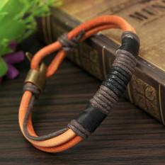Fashion laki-laki Coklat Hitam gelang tali kulit yang dikepang suku manset gelang 22 cm