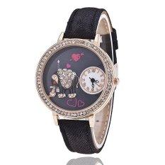 Fashion Leather Band Delicate Rhinestone Elephant Women's Quartz Watch LC508 Black