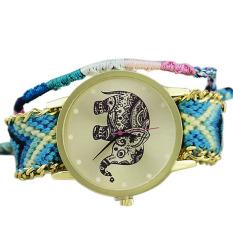 Fashion Lovely Animal Elephant Braid Bracelet Quartz Watch Gift Women Blue (Intl)