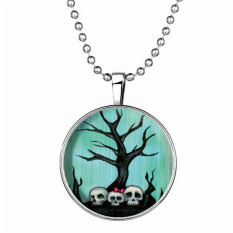 Fashion Luminous Halloween Skeleton Pendant Necklaces LC715 Silver