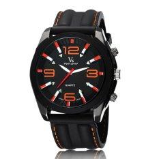 Fashion Luxury Brand Military Style Big Number Quartz Men Wristwatches Black and Orange (Intl)