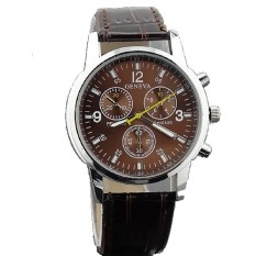 Fashion Men Leather Strap Wristwatches Three Six-pin Male Belt Casual Fashion Alloy Quartz Watch Brown (Intl)