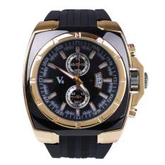 Fashion Men's Business Automatic Silicone Analog Quartz Wrist Watch Gift Black - Intl