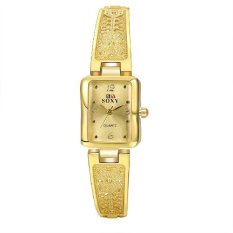Fashion Rectangle Dial Women's Square Face Automatic Electric Wrist Watch Metal Casual Sport Gold (Intl)
