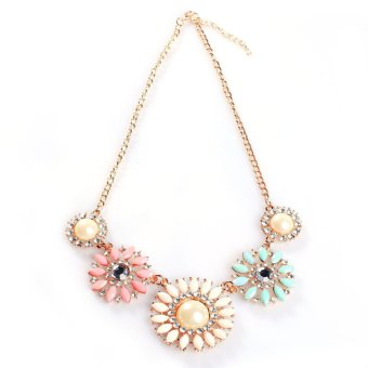 Fashion Resin Rhinestone Five Charm Color Flower Shape Collar Bib Necklace B94U
