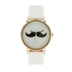 Fashion Retro Cute Gold Dial Beard Pattern Alloy And Synthetic Leather Watch For Women Girls