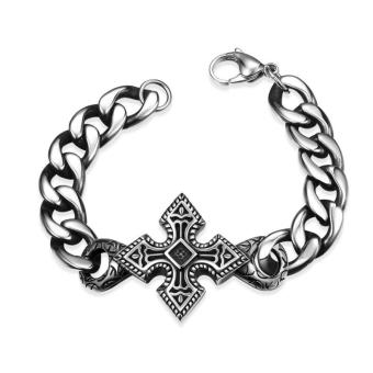 Fashion? Retro Stainless Steel Pop Art Cross Vintage Man Bracelet Punk Style Men's Bracelet Bangle Jewelry - Intl