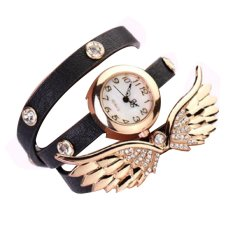 Fashion Rhinestone Casual PU Leather Band Bracelet Watch Wristwatch Women Wings Wristwatches Long Band Watch (Intl)