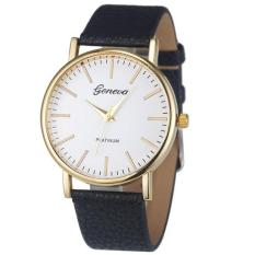 Fashion Simple Leisure Women Analog Leather Quartz Wrist WatchBlack - intl