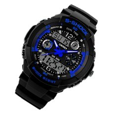 Fashion Sports Brand Watch Men's Digital Water Resistant Quartz Alarm Wristwatches Outdoor Military LED Casual Watches Blue (Intl)