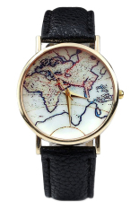 Fashion Unisex Earth World Map Watch Alloy Analog Quartz Retro Wrist Watches (Black) (Intl)
