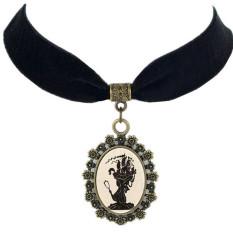 Fashion Velvet Ribbon Choker Womens Charming Pendant Necklace LB128 (Black)