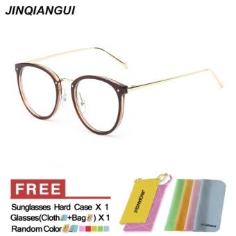 Fashion Vintage Retro Round Glasses Brown Frame Glasses Plain for Myopia Women Eyeglasses Optical Frame Glasses