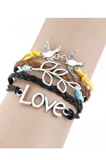 Fashion Vintage Style PU Leather Charm Bracelet Multilayer Alloy Bangle Birds Leaves And LOVE Shaped Design Lady Women Jewelry Accessories Friendship Gift