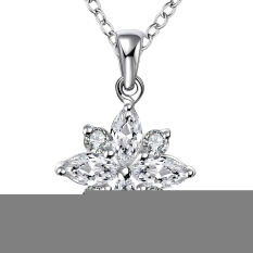 Fashion Women Flower Shape Pendant Silver Plated Chain Jewelry Necklace (Silver)