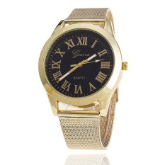 Fashion Women Geneva Watch Luxury Brand Gold Analog Quartz Ladies Wristwatches (Black) (Intl)