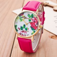 Fashion Women's Vintage Platinum Floral Rose Quartz Wrist Watch Leather with Rhinestones Watch (Rose Red)