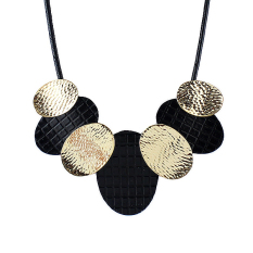 Feelontop Black PU Leather Gold Silver Maxi Necklace Geometric Collar Choker Necklace (Intl)