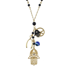 Feelontop Fashion Beads Multielement Antique White Beads Pendent Alloy Hand Eye Pendant Necklace (Intl)