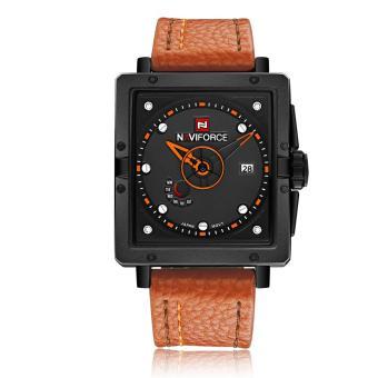 Fehiba NAVIFORCE New Men's Watch Calendar Week Waterproof Quartz Watch Fashion Belt (Orange)