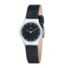 Fjord EDLA Women's Black Genuine Leather Strap Watch - FJ-6029-01