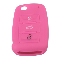 Flip Key Case Cover Car Silicone Skin Rubber VAG Passat Touare FOR VW Seat Skoda (Pink) (Intl)