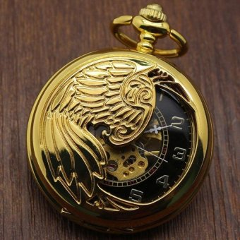 foorvof Creative mechanical watch animal phoenix pattern providespacket machine carved gold pocket watch (Yellow) - intl