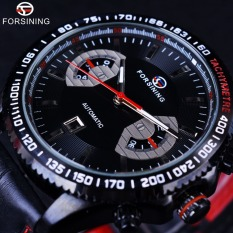 Forsining Sport Racing Fashion Style Red Leather Band Date Display Digital Sport Design Bezel Men Automatic Watch - Intl