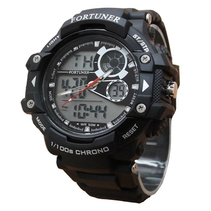 Fortuner Fr6544 Dual Time Jam Tangan Pria Rubber Strap Hitam