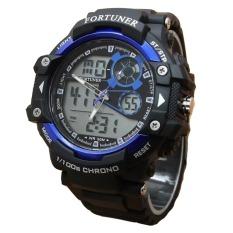 Fortuner Sport Dual Time - Jam Tangan Pria - Rubber - AD1602 - Hitam-Biru