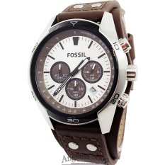 Fossil Ch2565 - Jam Tangan Fashion Pria Elegant Classic- Chronograph - Fiture Analog - Date - Leather (Brown Silver White)
