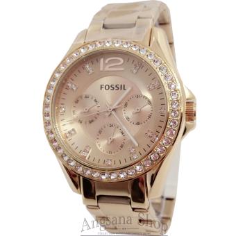 Fossil Es2811 - Jam Tangan Fashion Wanita Elegant - Fiture Chronograph Active - Stainless (Gold