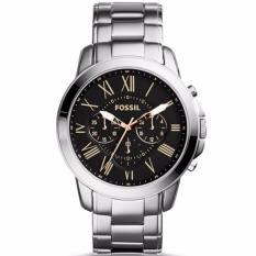 Fossil Grant Chronograph - Jam Tangan Pria - Silver - Stainless Steel - FS4994