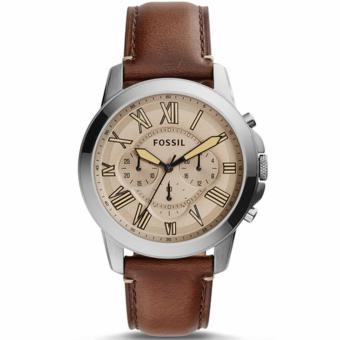 Fossil Jam Tangan Pria FS5214 Grant Chronograph Dark Brown Leather Watch
