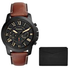 Fossil Jam Tangan Pria Fossil FS5335 Grant Chronograph Light Brown Leather Watch and Card Case Box Set