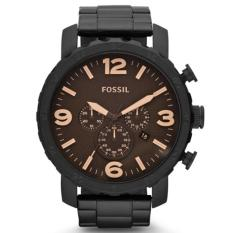 Fossil Jam Tangan Pria Fossil JR1356 Nate Chronograph Black Stainless Steel Watch