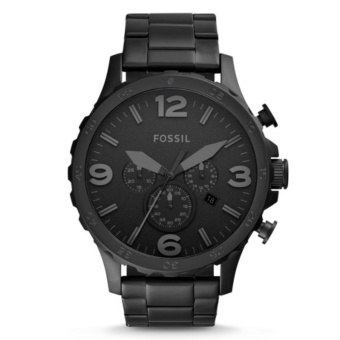 Fossil Jam Tangan Pria Fossil JR1401 Nate Chronograph Black Stainless Steel Watch