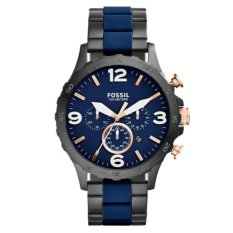 Fossil Jam Tangan Pria Fossil JR1494 Nate Chronograph Black & Blue Stainless Steel Watch