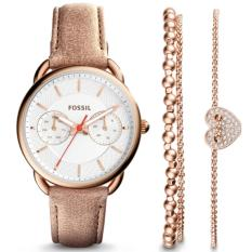 Fossil Jam Tangan Wanita ES4021SET Tailor Multifunction Light Brown Leather Watch and Jewelry Box Set