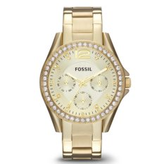 Fossil Jam Tangan Wanita Fossil ES3203 Riley Multifunction Gold Tone Stainless Steel Watch