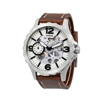 Fossil Watch Nate Mechanical Brown Stainless-Steel Case Leather Strap Mens NWT + Warranty ME3128