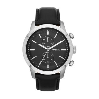 Fossil Watch Townsman Chronograph Black Stainless-Steel Case Leather Strap Mens NWT + Warranty FS4866
