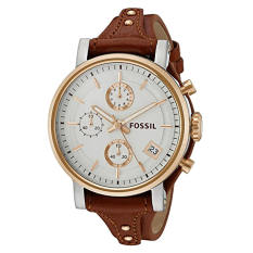 Fossil Women's ES3837 Original Boyfriend Chronograph Leather Watch - Light Brown - Intl