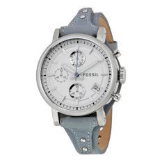 Fossil Women's Original Boyfriend Chronograph Leather Watch ES 3820 (Blue)