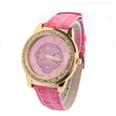 Fshion Women Faux Leather Geneva Roman Numerals Analog Quartz Watch (Pink)