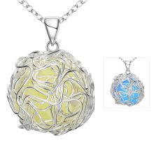 Fulemay Charming Round Single 925 Sterling Silver Noctilucent Pendant Lovers Necklace YGN073-C