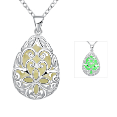 Fulemay Girls Pendant Hollow Out 925 Sterling Silver 3 Colors Necklace For Women Interseting Party Noctilucent Night Jewelry YGN007-A