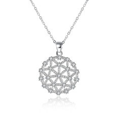 Fulemay New Women's Fashion 925 Sterling Silver Jewelry Big Flower Pendant With Hollow Out Design Necklace SPCN866