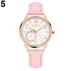 GAIETY Simple Lady Faux Leather Strap Band Wrist Watch Analog Quartz Party Watch Gift (Pink) - intl