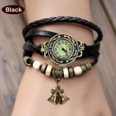 GE Women Quartz Bell Pendant Weave Wrap Synthetic Leather Bracelet Wrist Watch 7 Colors (Green) (Intl)